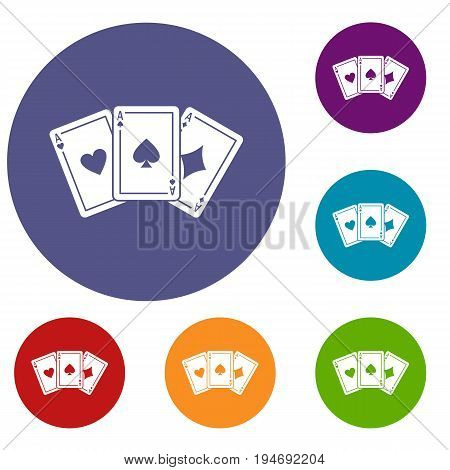 Three aces playing cards icons set in flat circle reb, blue and green color for web
