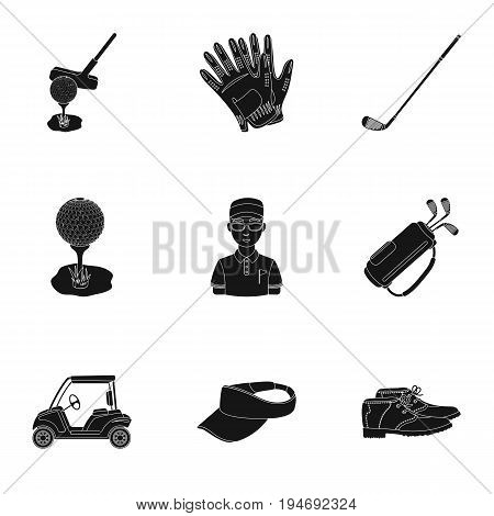 A golfer, a ball, a club and other golf attributes.Golf club set collection icons in black style vector symbol stock illustration .