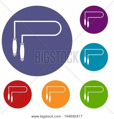 Skipping rope icons set in flat circle reb, blue and green color for web