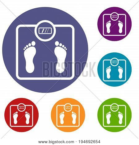 Floor scales icons set in flat circle reb, blue and green color for web