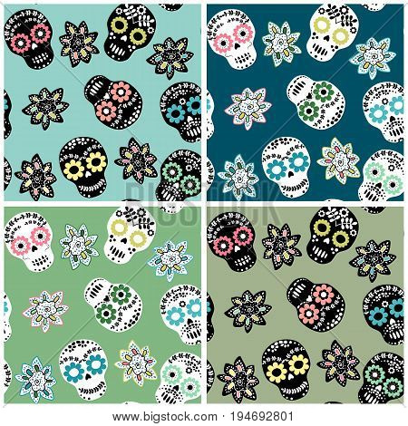 Seamless pattern set with floral sugar skulls and flowers for textile paper and other designs