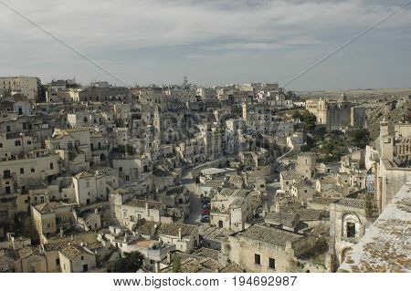 View of the beautiful town of Matera