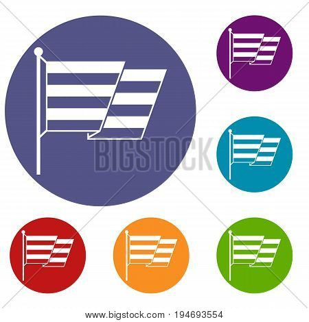 Flag LGBT icons set in flat circle reb, blue and green color for web