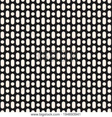 Geometric pattern. Vector monochrome seamless pattern. Simple geometric background, black & white perforated surface. Modern texture for textile, fabric, furniture. Geometric seamless pattern. Geometric shapes. Traditional geometric texture.