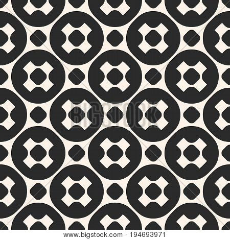 Vector seamless pattern, stylish monochrome geometric texture with smooth perforated shapes, crosses, circles. Modern abstract repeat background. Design element for prints, decor, covers, textile.