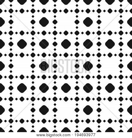 Polka dot pattern. Black & white subtle dotted texture. Abstract monochrome background with big and small circles in square geometric grid, repeat tiles. Decorative design element. Seamless pattern with dots. Vector dots background. Polka dots.