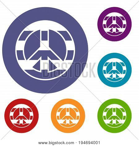 LGBT peace sign icons set in flat circle reb, blue and green color for web