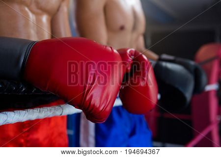 Midsection of male boxers standing by rope in boxing ring