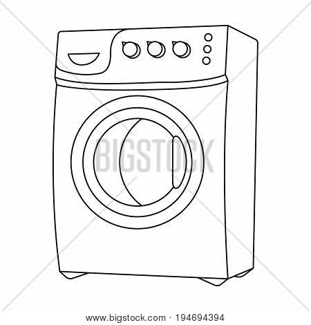 Household washing machine. Dry cleaning single icon in black style vector symbol stock illustration .