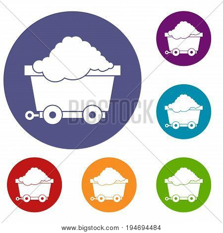 Cart on wheels with coal icons set in flat circle reb, blue and green color for web
