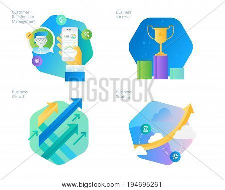 Material design icons set for CRM, business strategy, growth and success. UI/UX kit for web design, applications, mobile interface, infographics and print design.