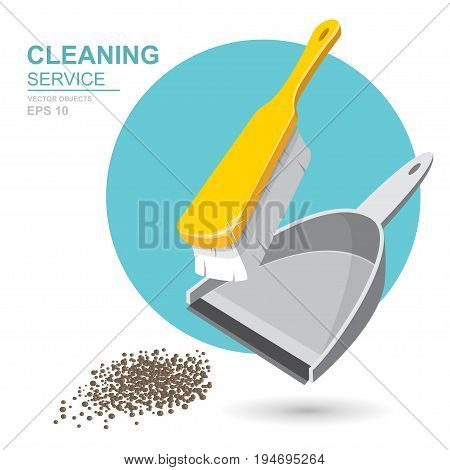 Vector Set of cleaning service elements. Cleaner. Cleaning supplies. Housework tools House cleaning. Garbage dustpan and brush. Template for banners web sites printed materials infographics