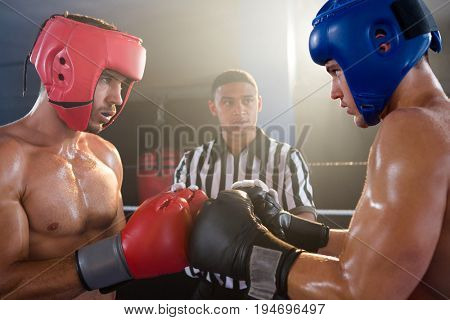 Referee looking at male boxers punching gloves in boxing ring