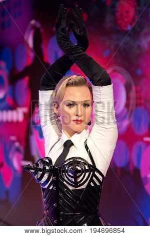 ISTANBUL, TURKEY - MARCH 16, 2017: Madonna wax figure at Madame Tussauds museum in Istanbul. Madonna  Louise Ciccone is an American singer, songwriter and actress.