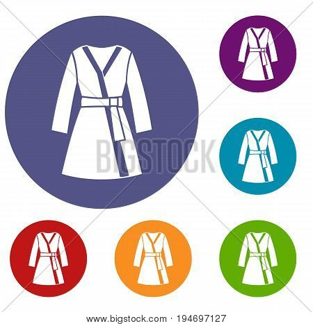 Bathrobe icons set in flat circle reb, blue and green color for web