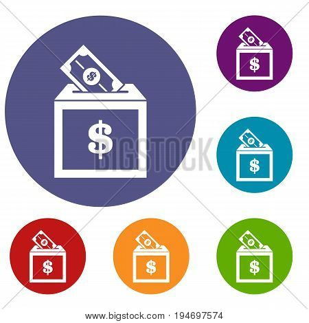 Donation box icons set in flat circle reb, blue and green color for web