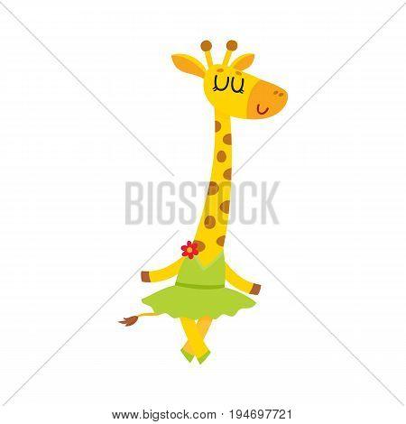 Happy cute little giraffe character, ballet dancer in tutu skirt, cartoon vector illustration isolated on white background. Little giraffe baby animal, ballet dancer, ballerina in tutu