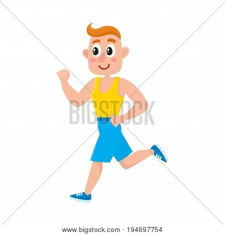 Young man running, training in gym, doing sport exercises, cartoon vector illustration isolated on white background.