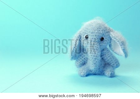 Adorable knitted baby elephant toy on color background, closeup