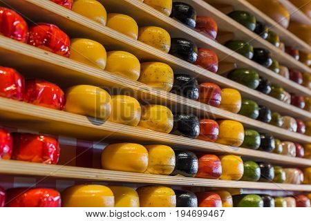 Cheese shop in Gouda Netherlands - food background
