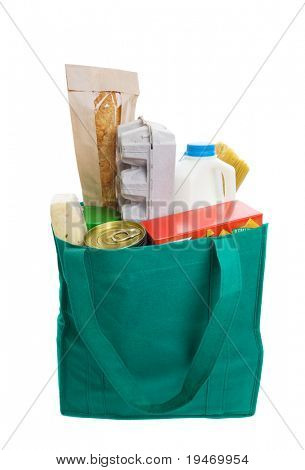 Green eco friendly grocery bag full of food