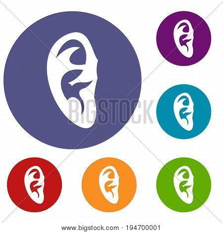 Ear icons set in flat circle reb, blue and green color for web