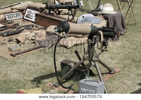 Sandhurst, Uk - 18Th June 2017: Vintage Toned Shot Of A Water Cooled Vickers Machine Gun And Other S