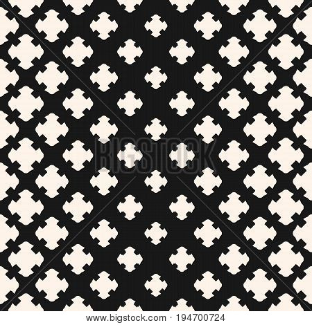 Halftone pattern. Vector halftone texture, monochrome seamless pattern, gradient transition effect from light to dark. Geometric halftone background with floral shapes, carved crosses. Stylish abstract design for decor. Vector halftone pattern.