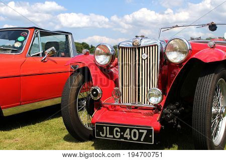 Sandhurst, Uk - 18Th June 2017: Grille, Lights And Front Bumper Of A Classic Mg Ta Convertible Sport