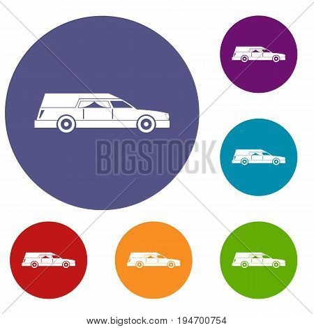Hearse icons set in flat circle reb, blue and green color for web
