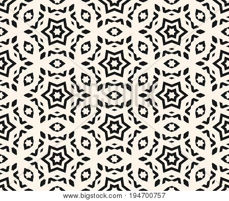 Ornamental pattern. Vector seamless pattern. Abstract monochrome linear texture, geometric figures, stars rhombuses. Stylish ornament background, repeat tiles. Elegant design for prints, decor, fabric, textile. Traditional ornamental pattern.