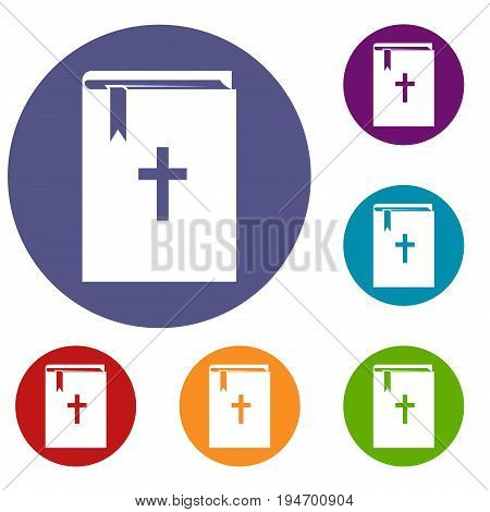 Bible icons set in flat circle reb, blue and green color for web