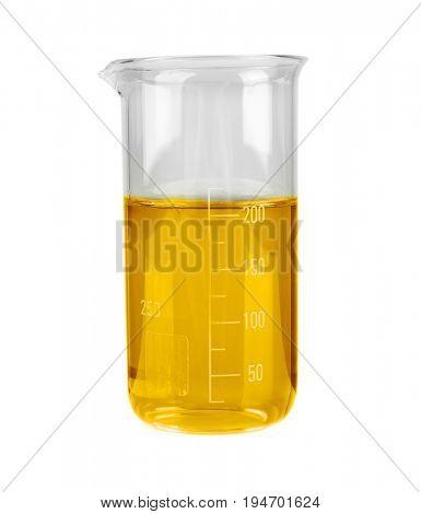 Beaker of cooking oil on white background