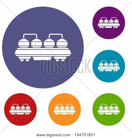 Rail wagon for construction materials icons set in flat circle reb, blue and green color for web
