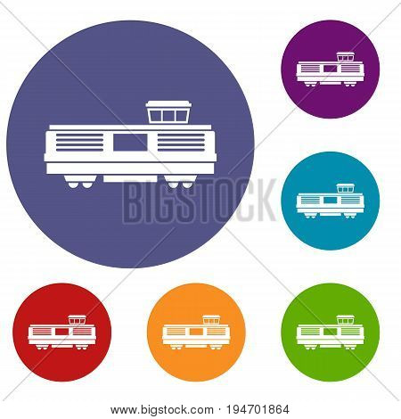 Freight train icons set in flat circle reb, blue and green color for web