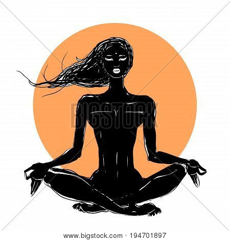 Beautiful girl in yoga pose. Meditation. Vector illustration