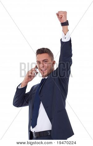 Business Man With Mobile Phone Winning