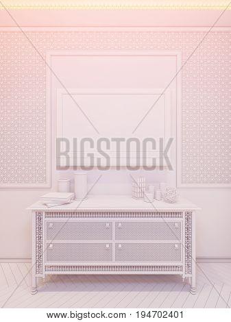 3D Render Bedroom Islamic Style Interior Design