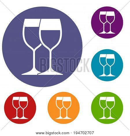 Wine glasses icons set in flat circle reb, blue and green color for web