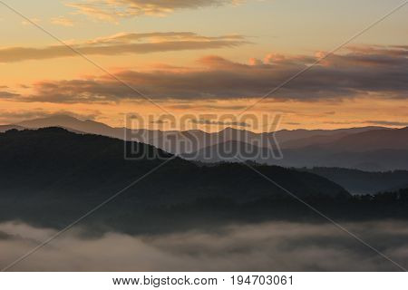 Orange Sky at Sunrise Over Smoky Mountains