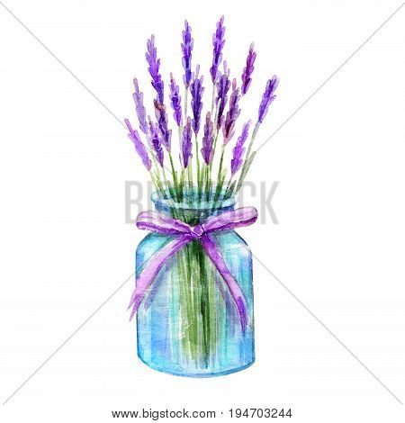 Glass jar with lavender bouquet. Vintage hand drawn sketch design. Provence style Watercolor hand painting Jar illustration isolated white background