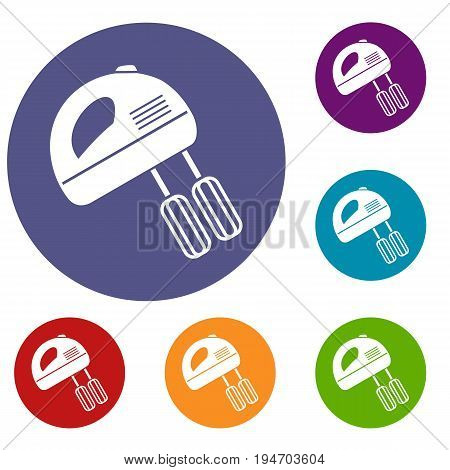 Electric mixer icons set in flat circle reb, blue and green color for web