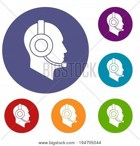 Operator in headset icons set in flat circle reb, blue and green color for web