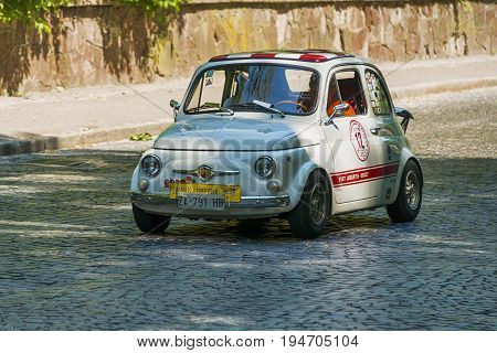 Lviv Ukraine - June 4 2017:Old retro car Fiat Abarth 695 ss taking participation in race Leopolis grand prix 2017 Ukraine.