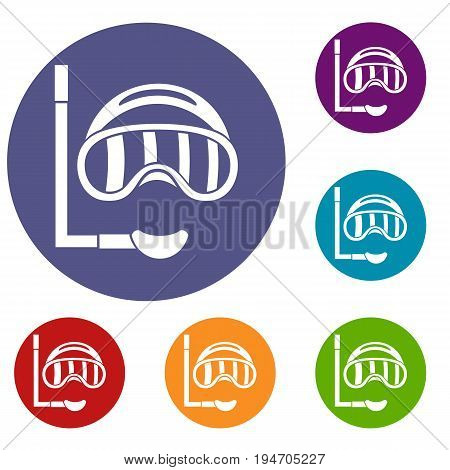 Diving mask icons set in flat circle reb, blue and green color for web