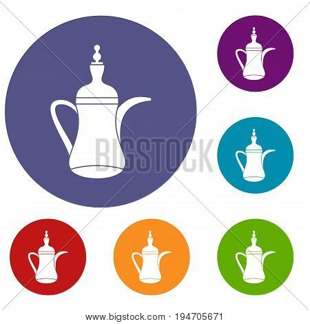 Oriental teapot icons set in flat circle reb, blue and green color for web