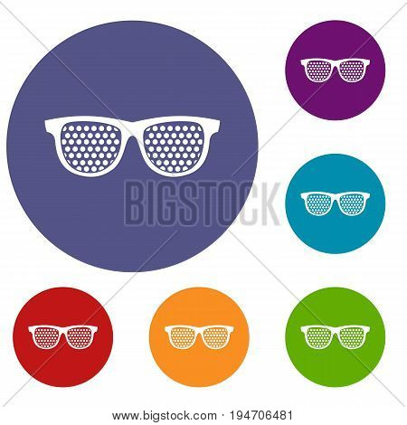 Black pinhole glasses icons set in flat circle reb, blue and green color for web