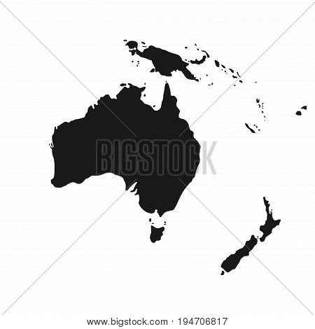Australia And Oceania Map. Monochrome Australia Icon