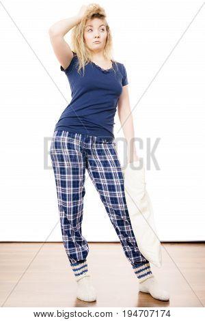 Sleepy Woman Wearing Pajamas