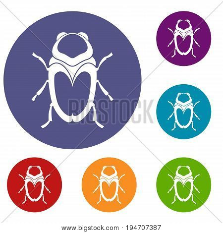 Scarab beetle icons set in flat circle reb, blue and green color for web